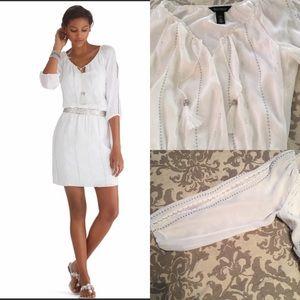 🌷WHBM SlitSleeve Boho Smocked Blouson Dress/Lined